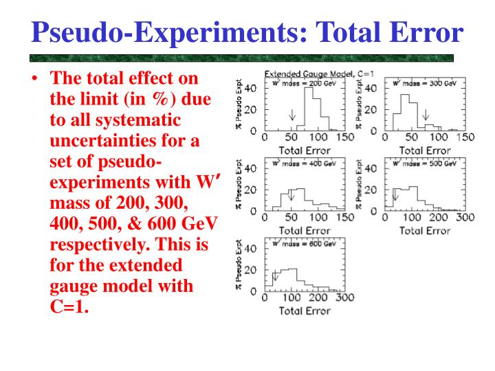 Pseudo-Experiments: Total Error