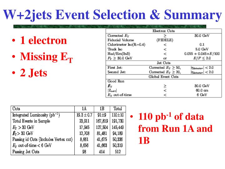 W+2jets Event Selection & Summary