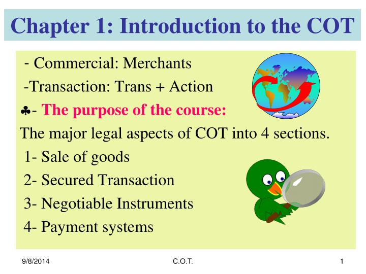 chapter 1 introduction to the cot n.