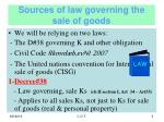 sources of law governing the sale of goods