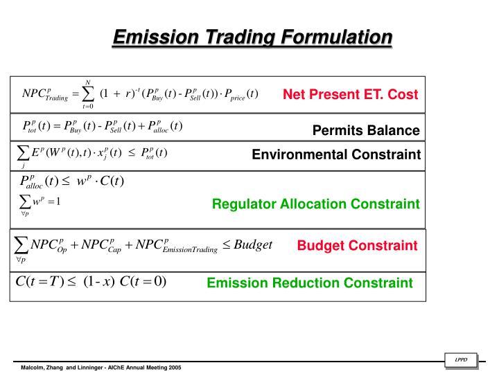 Emission Trading Formulation