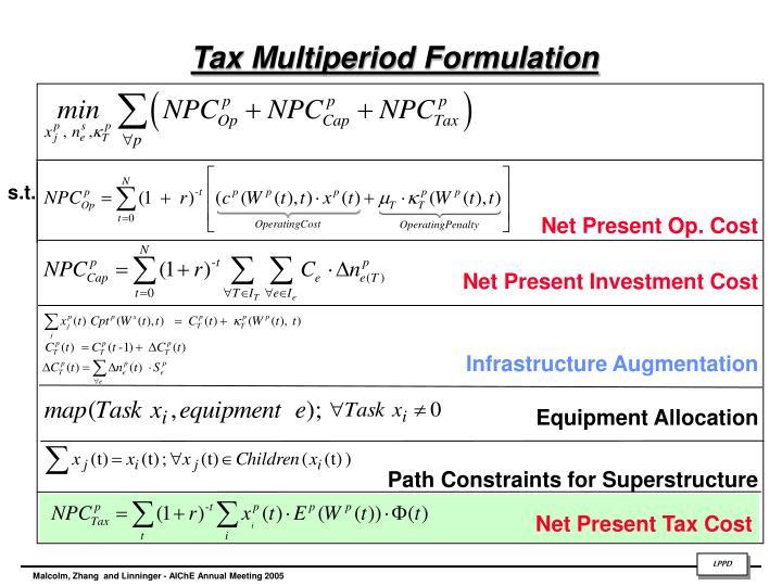 Tax Multiperiod Formulation