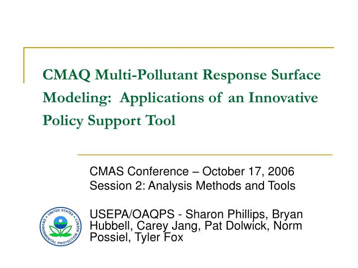 Cmaq multi pollutant response surface modeling applications of an innovative policy support tool