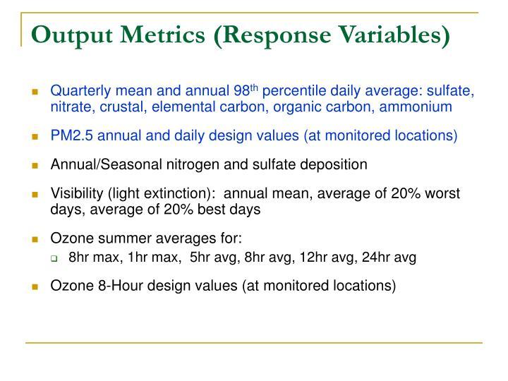 Output Metrics (Response Variables)