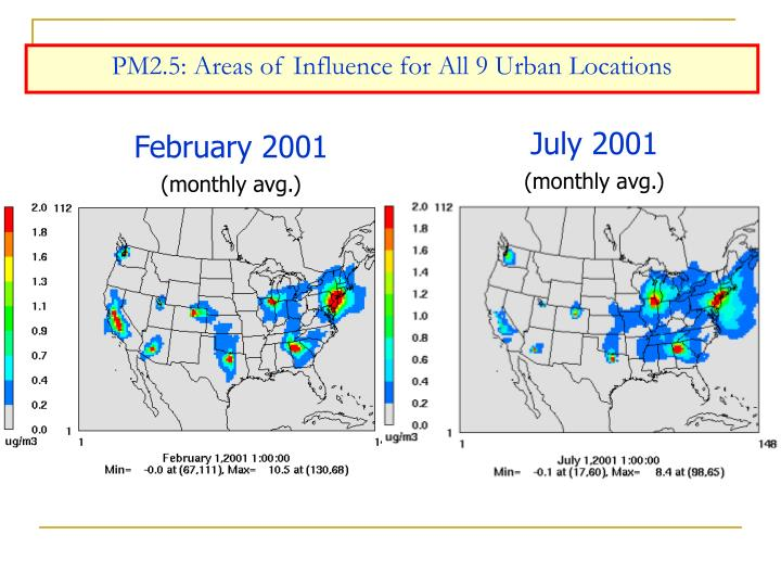PM2.5: Areas of Influence for All 9 Urban Locations