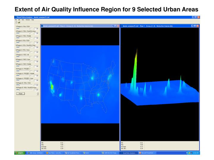 Extent of Air Quality Influence Region for 9 Selected Urban Areas
