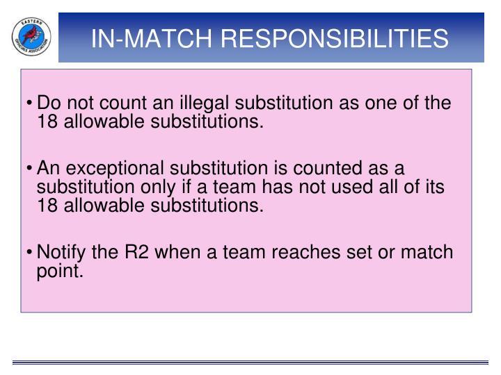 IN-MATCH RESPONSIBILITIES