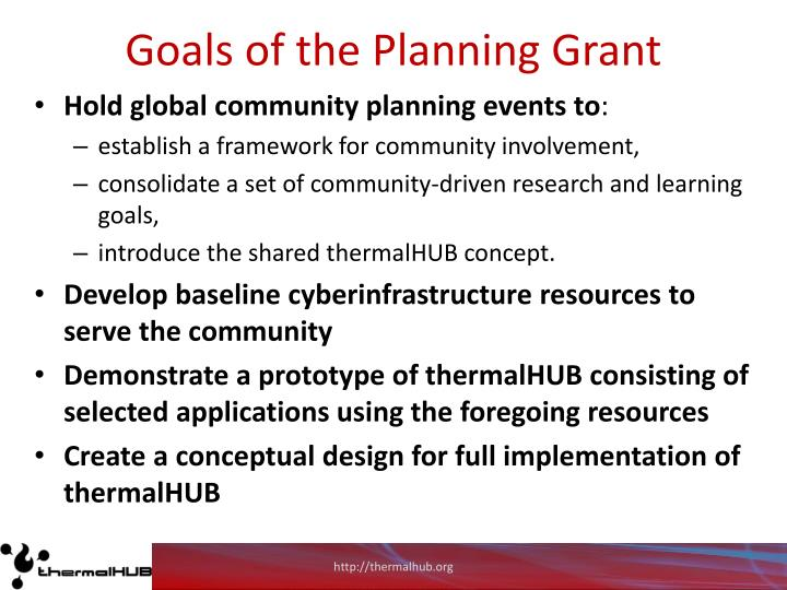 Goals of the Planning Grant