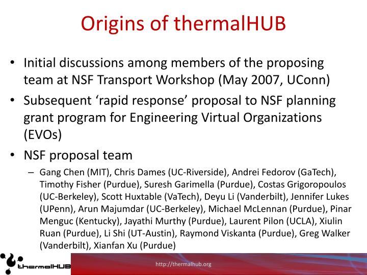 Origins of thermalhub