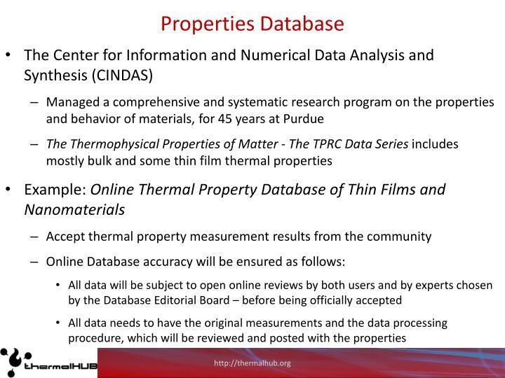 Properties Database