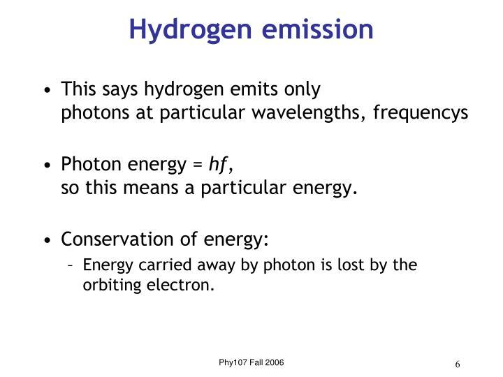 Hydrogen emission