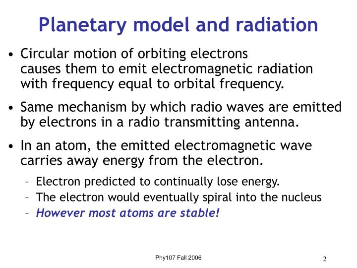 Planetary model and radiation