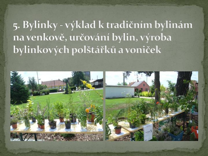 5. Bylinky - výklad k tradičním bylinám na venkově, určování bylin, výroba bylinkových polštářků a voniček