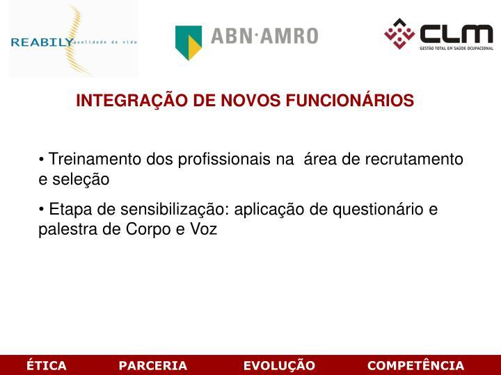 INTEGRAÇÃO DE NOVOS FUNCIONÁRIOS