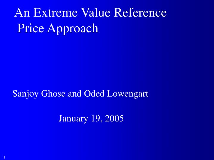 An Extreme Value Reference