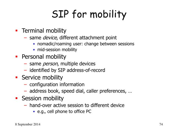 SIP for mobility