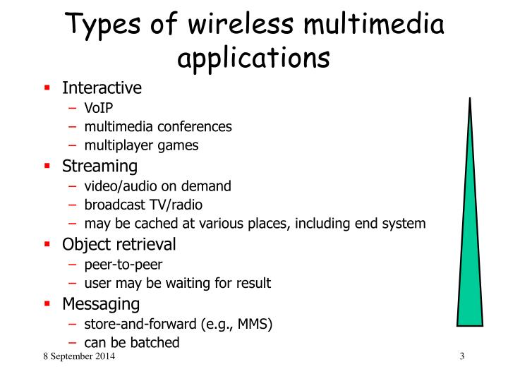 Types of wireless multimedia applications