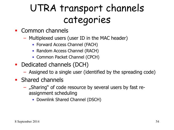 UTRA transport channels categories