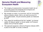 genuine wealth and measuring ecosystem health
