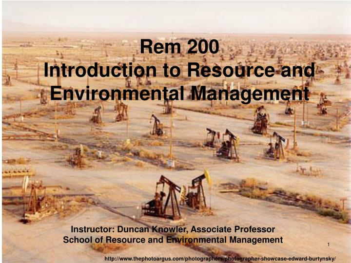 rem 200 introduction to resource and environmental management