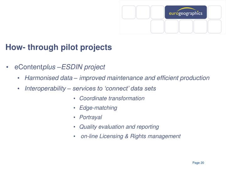 How- through pilot projects