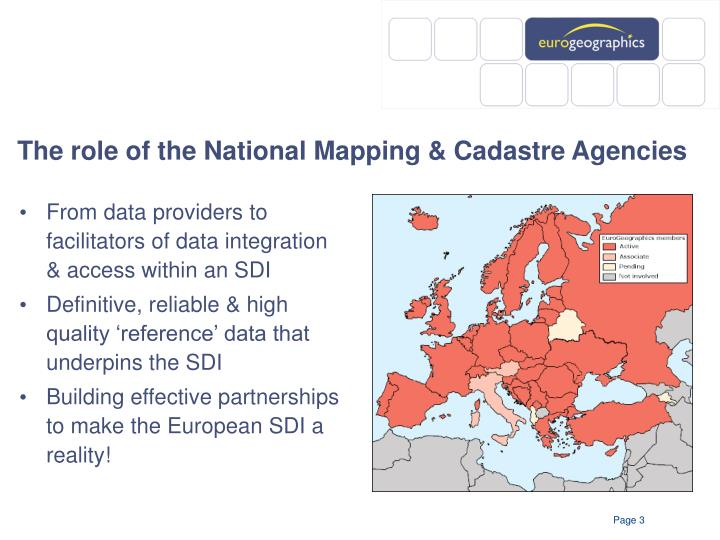 The role of the national mapping cadastre agencies