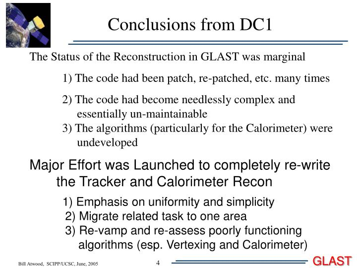 Conclusions from DC1