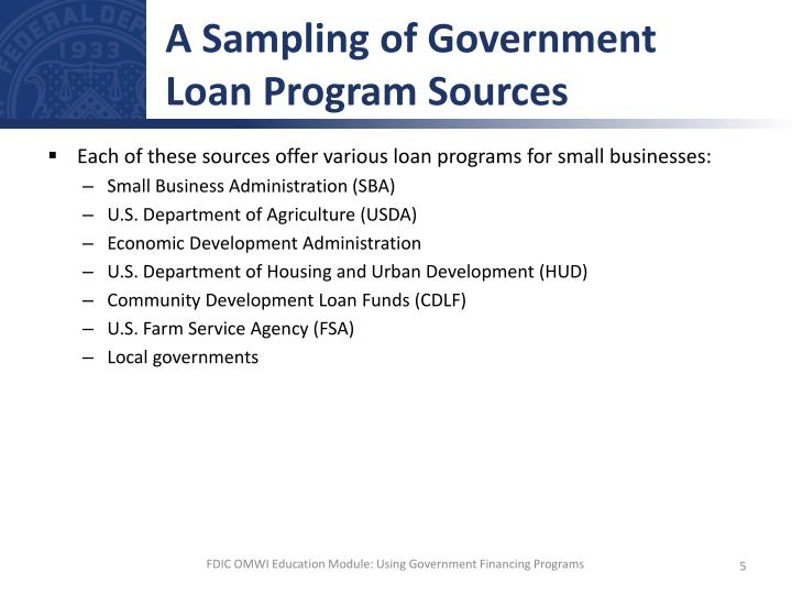A Sampling of Government Loan Program Sources