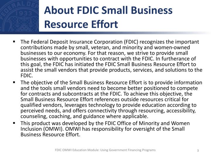About fdic small business resource effort