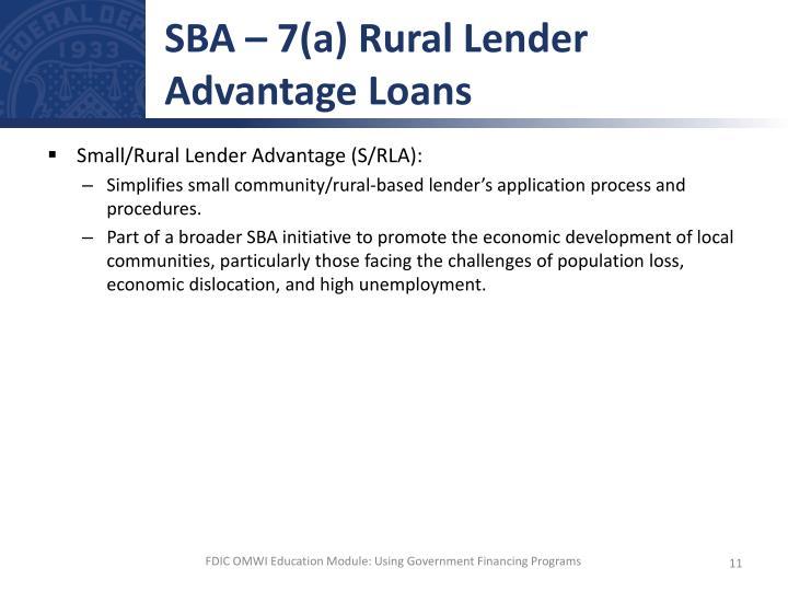 SBA – 7(a) Rural Lender Advantage Loans