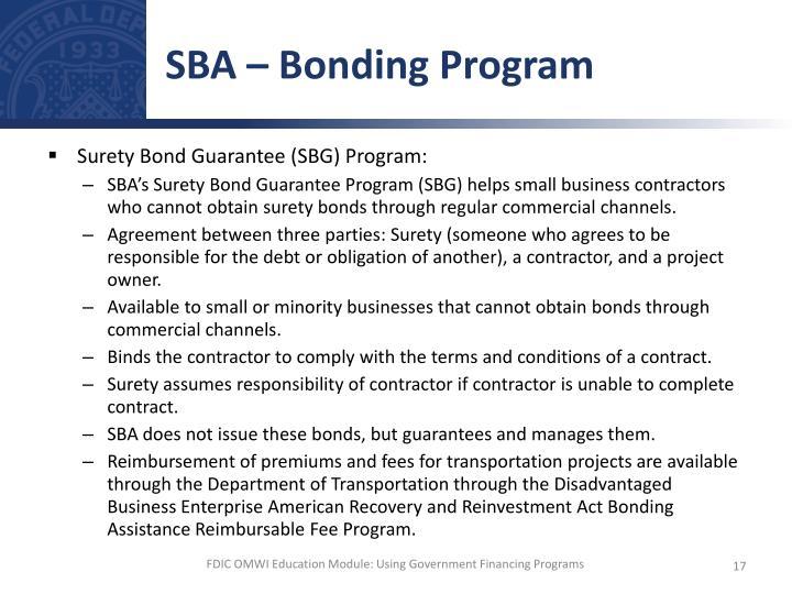 SBA – Bonding Program