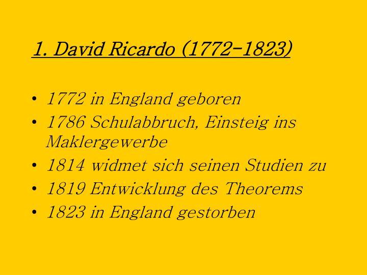1 david ricardo 1772 1823