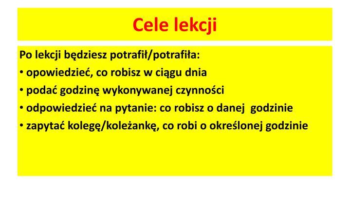 Cele lekcji