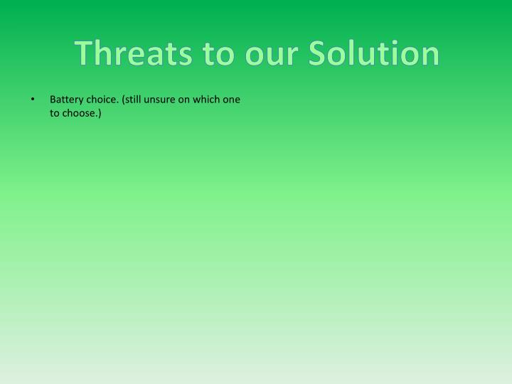 Threats to our Solution