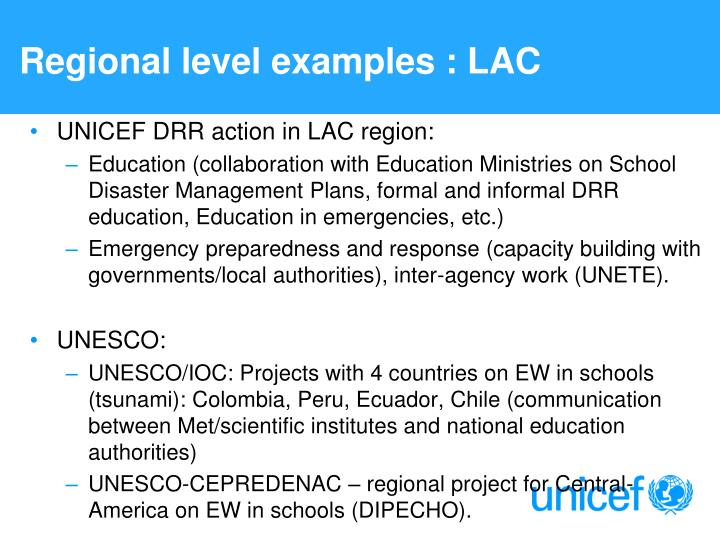 Regional level examples : LAC