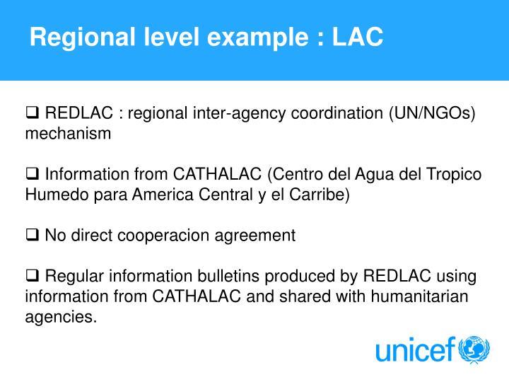 Regional level example : LAC