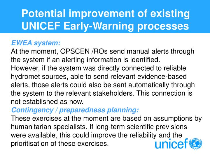 Potential improvement of existing UNICEF Early-Warning processes