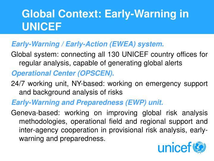Global Context: Early-Warning in UNICEF