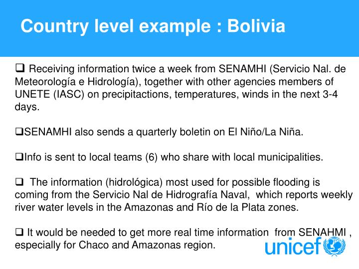 Country level example : Bolivia