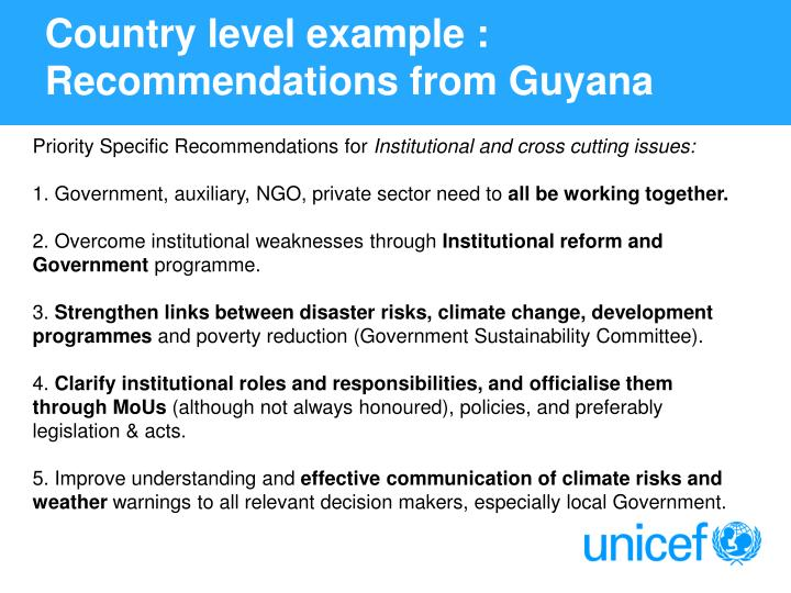 Country level example : Recommendations from Guyana