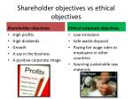 shareholder objectives vs ethical objectives