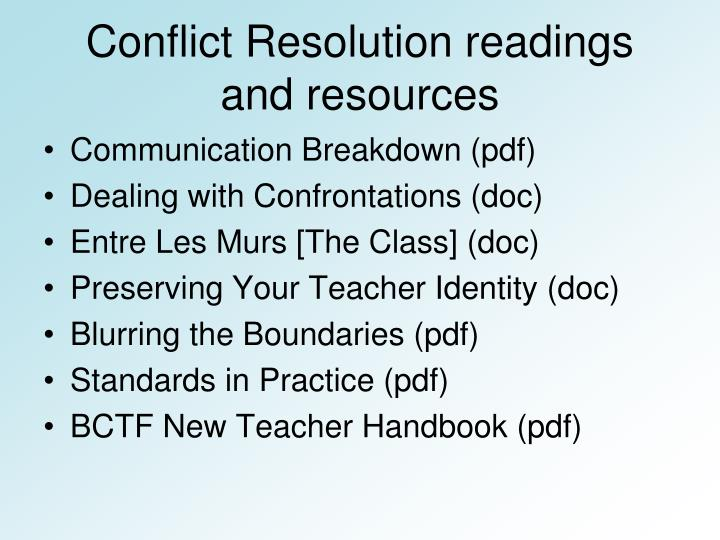 Conflict Resolution readings