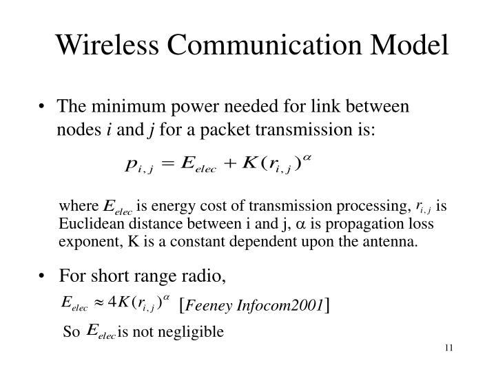where         is energy cost of transmission processing,      is Euclidean distance between i and j,