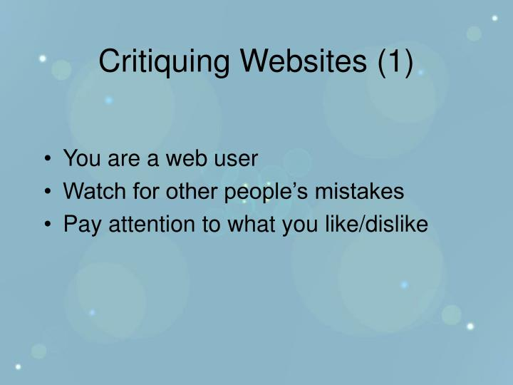 Critiquing Websites (1)