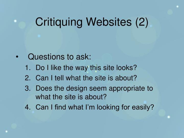 Critiquing Websites (2)