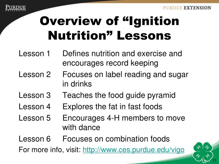 "Overview of ""Ignition Nutrition"" Lessons"