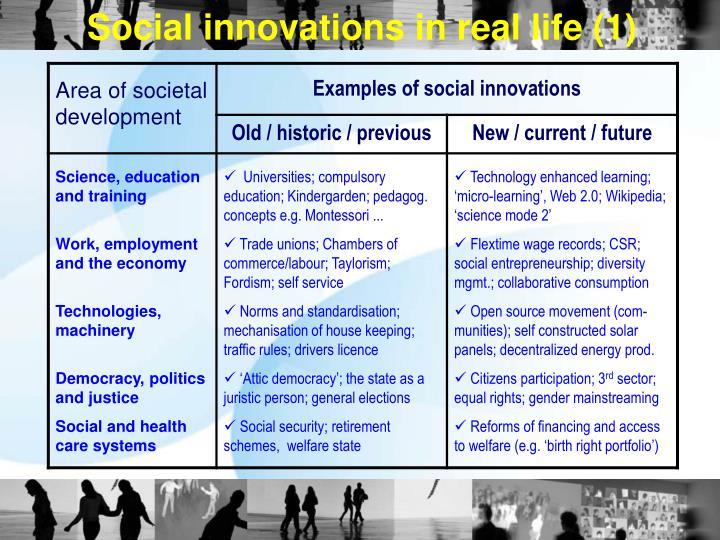 Social innovations in real life (1)