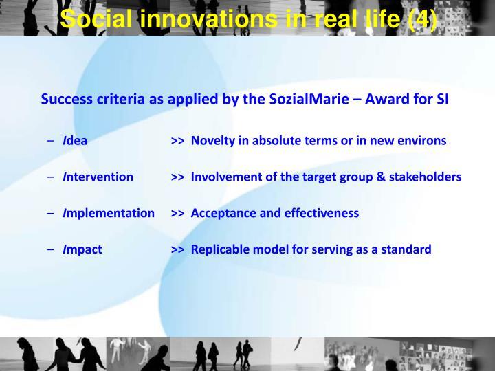 Social innovations in real life (4)