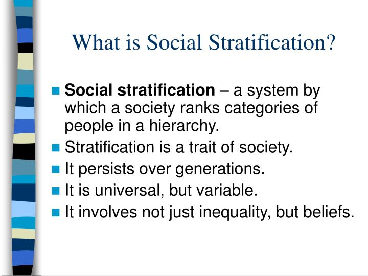 what is social stratification
