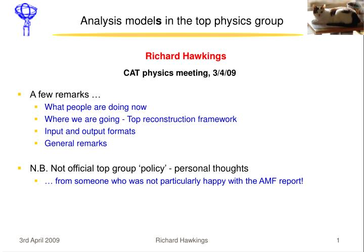 Analysis model s in the top physics group